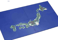 Map of Japan (Painted) with Sea Surface Plate