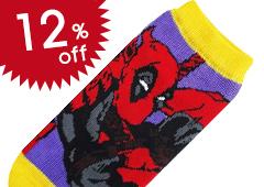 Socks: Deadpool Pose Purple x Yellow Ladies' 22-24cm